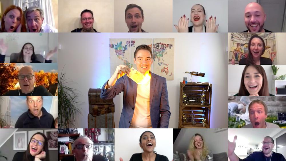 Virtuelle Weihnachtsfeier mit Teilnehmern